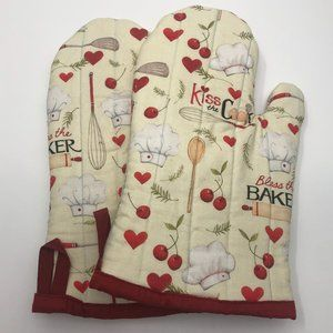 Kiss the Cook Bless the Baker handmade oven mitts